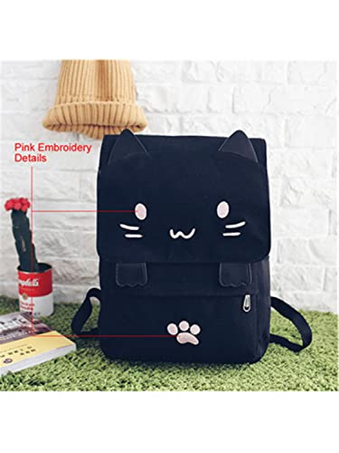 Amazon.com: Jeff Tribble Cute Cat Canvas Backpack Cartoon Embroidery Backpacks For Teenage Girls School Bag Fashio Black Printing Rucksack mochilas Pink ...