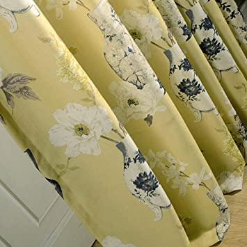 Yellow Curtains Blackout Lined Drapes   Anady Top Bright White Flower Curtains  For Bedroom Grommet 84