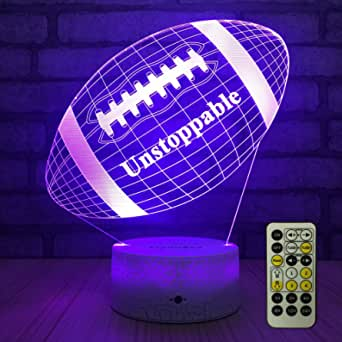 FlyonSea Football lamp, Rugby Ball Bedside Lamp 7 Colors Change + Remote Control with Timer Kids Night Light Optical Illusion Lamps for Kids Lamp As a Gift Ideas for Boys or Kids