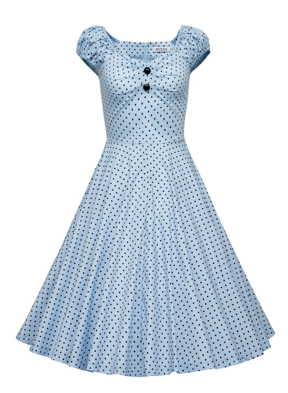 MUXXN Women's 1950s Style Vintage Swing Party Dress (M, Lightblue Dot)
