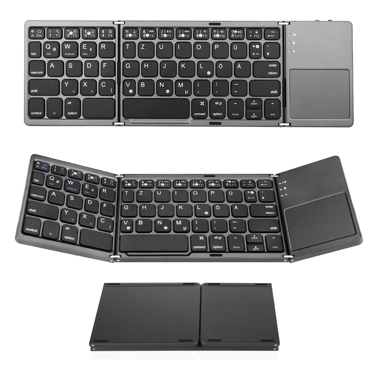 Bluetooth Tastatur Mit Touchpad, Jelly Comb Faltbare Tri Fold Dreifach  Kabellose Ultra Dünne Ultra