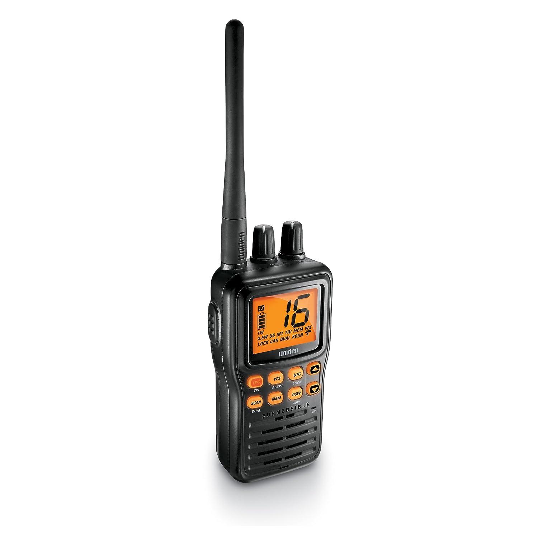 Black Uniden MHS126 Handheld Floating Waterproof with Emergency Strobe VHF Marine Radio