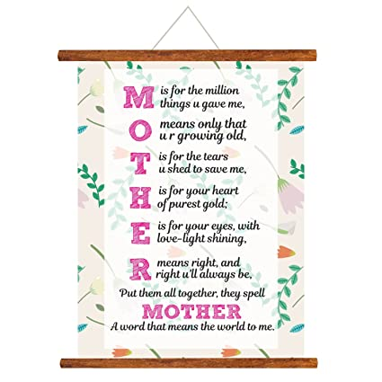 YaYa Cafe Mothers Day Greeting Cards Mom You Mean The World To Me Scroll Card For Wall Hanging Decor