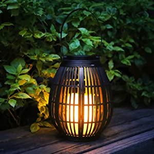 neemor Solar Lantern Lights Outdoor and Indoor Hanging Lanterns Powered Garden Decor Outside LED Lights Waterproof Flameless Candle Mission Lights for Patio Yard Garden and Pathway Decoration