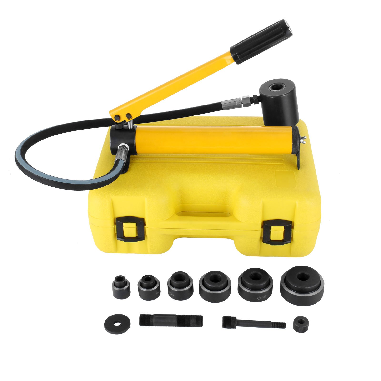 BestEquip Knockout Sets 10 Ton 1/2'' to 2'' Hydraulic Knockout Punch 6 Dies Hand Pump Hole Tool with Plastic Carrying Case (10 Ton 6 Dies)