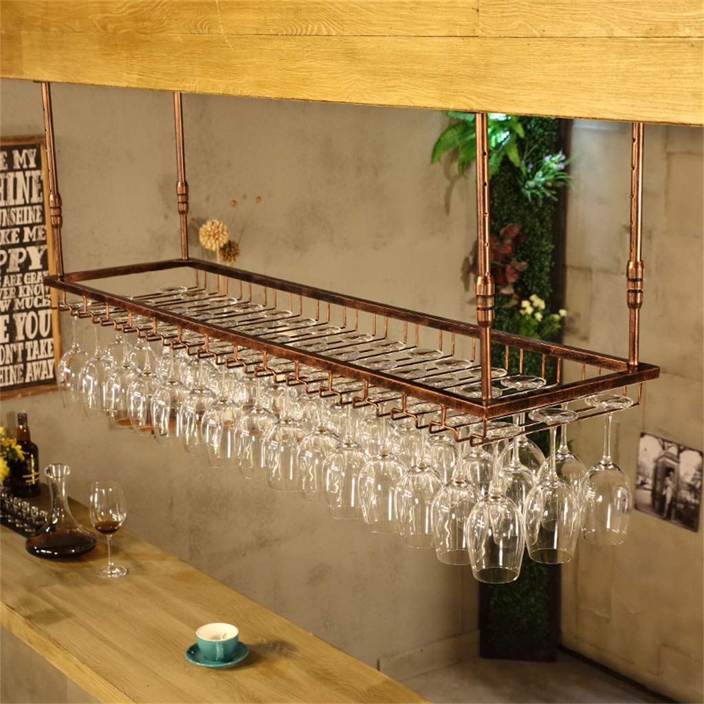 60cm 90cm 120cmx40cm Hauteur r/églable Application de D/écoration Mont/ée Supports /à vin en M/étal pour Plafond Suspendus Porte-Verre Porte-Bouteille Vintage Stemware
