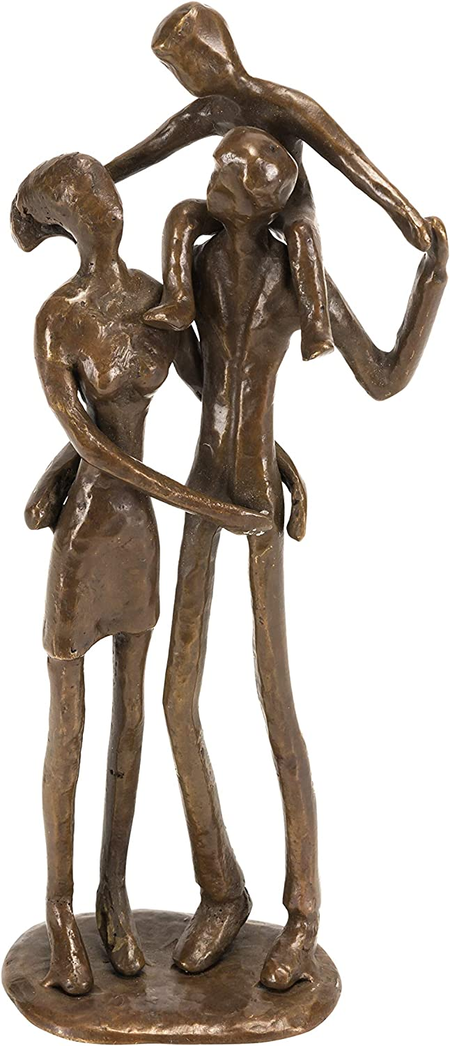 Danya B. Metal Art Shelf Decor - Bronze Sculpture - Couple with Child on Shoulders