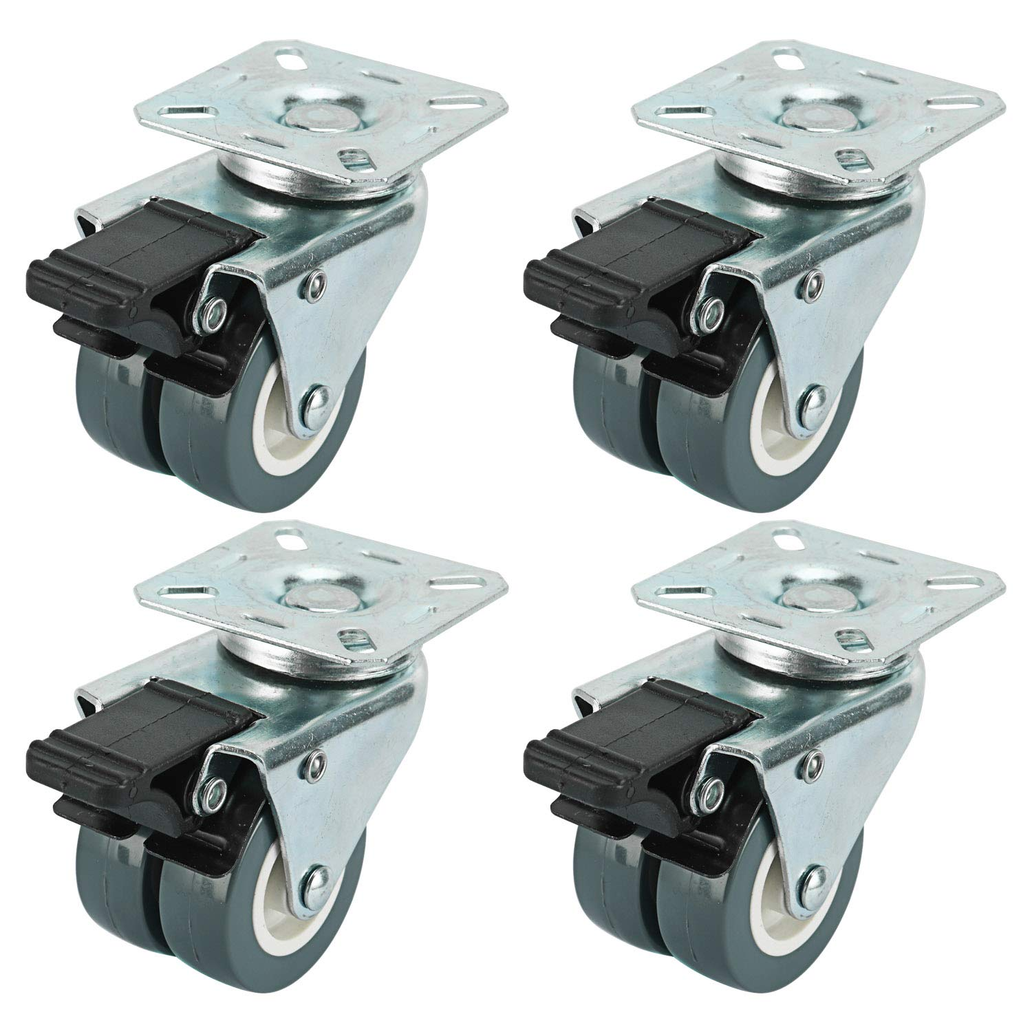 """Homend 2"""" TPR Dual Wheel Heavy Duty Swivel Plate Locking Casters 551 LBs, 4 Pack (4 with Brakes) -Silver Gray"""