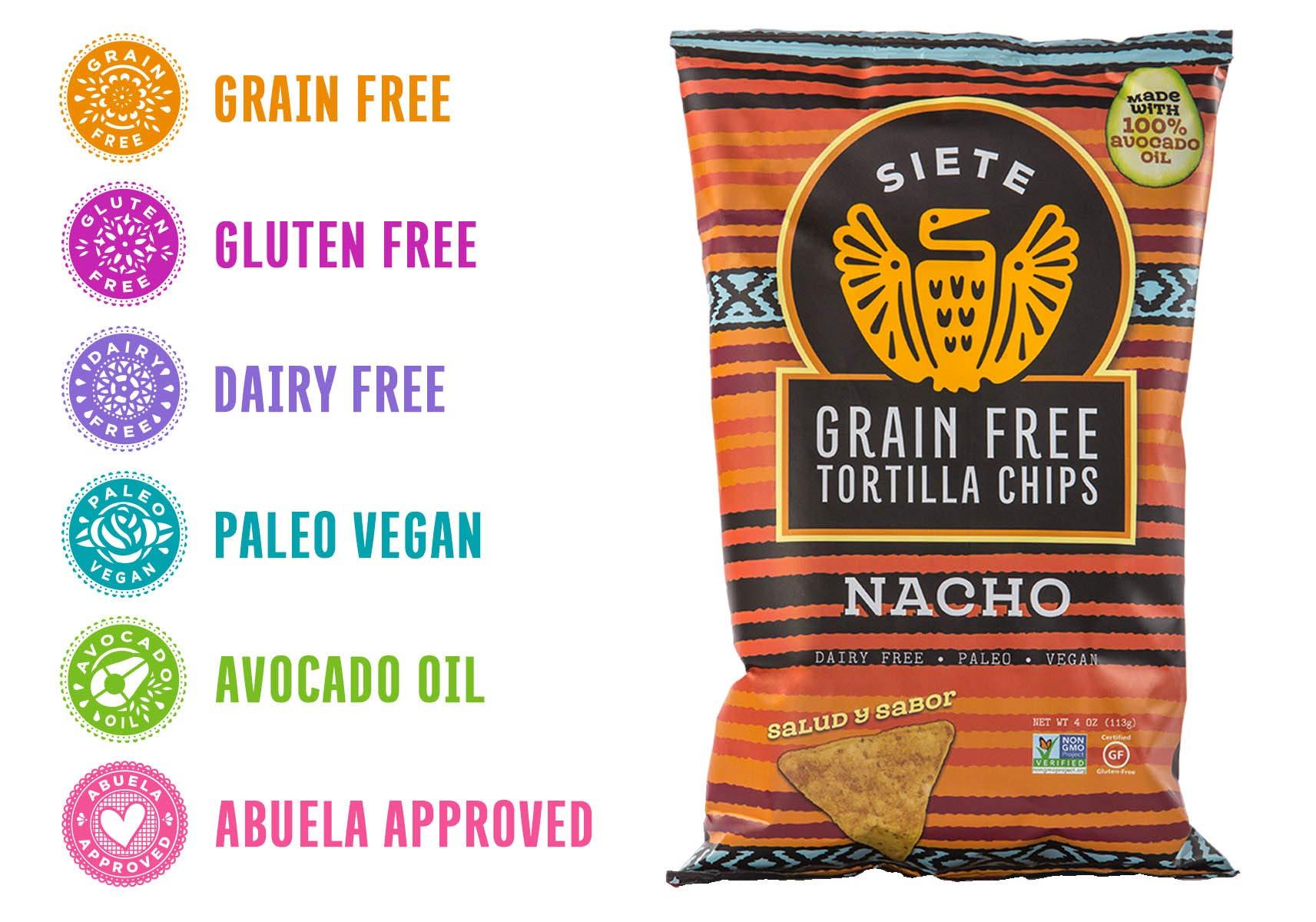 Siete Nacho Grain Free Tortilla Chips, 4 oz bags, 6-Pack by Siete