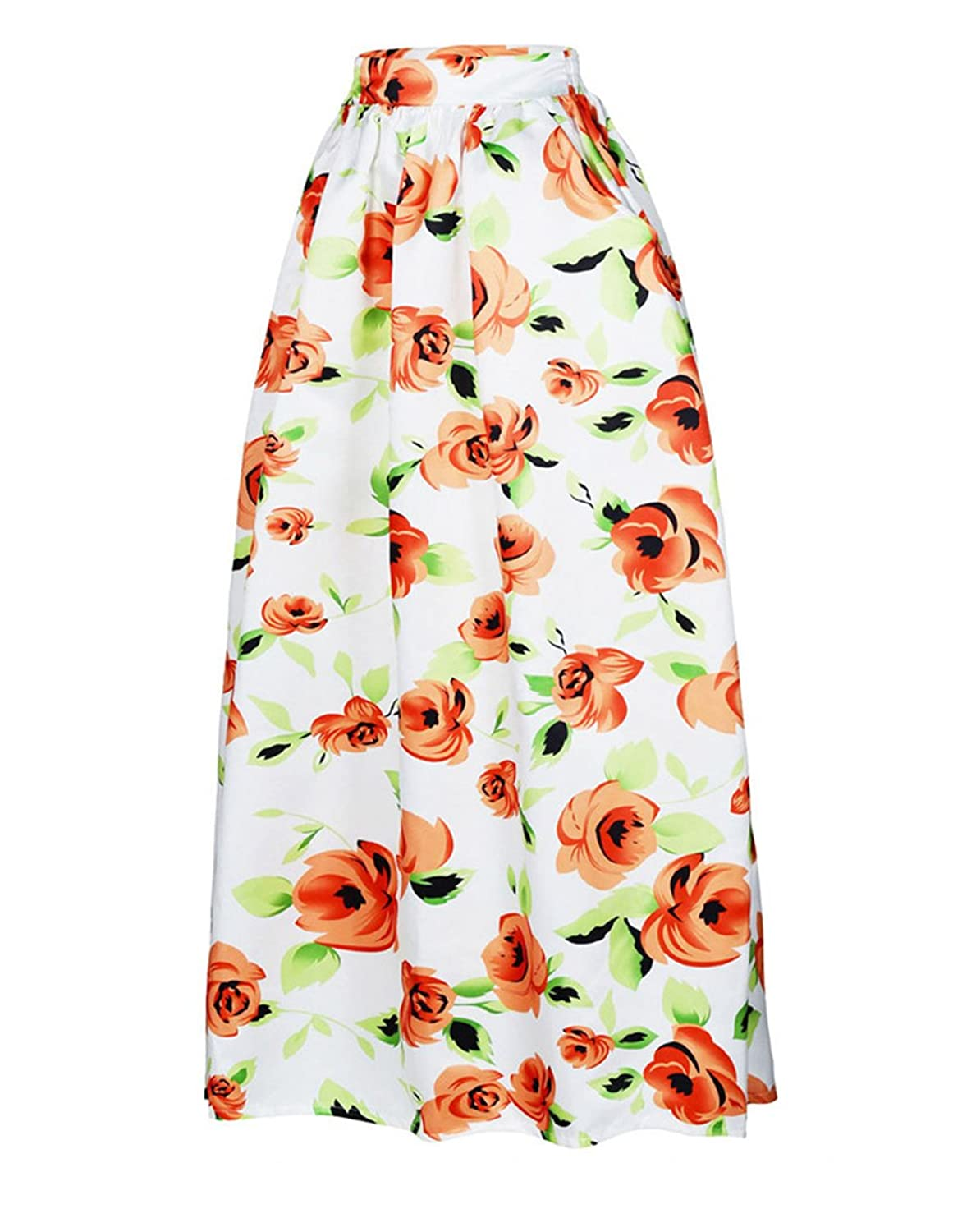iPretty Women's African Floral Print Maxi Skirts A Line Long Skirts With Pockets