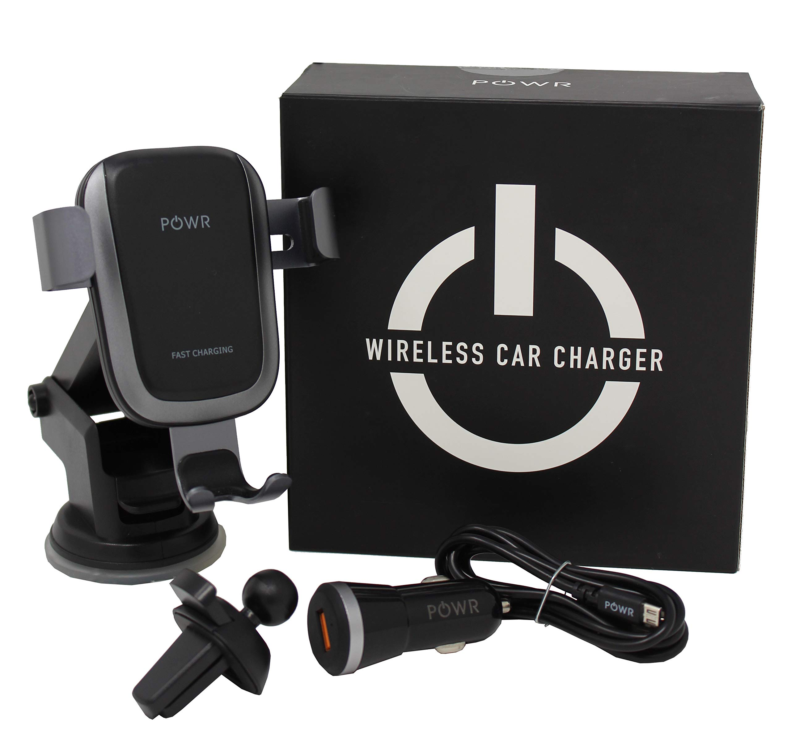 POWR Fast Wireless Car Charger | Fast Charging Station + Vent & Windshield/Dash Mounts for Samsung Galaxy S10/S10+/S9/S9+/S8/S8+/S7 Edge, Note 9/8, Apple iPhone XSMax/XR/XS/X/8+ & More!