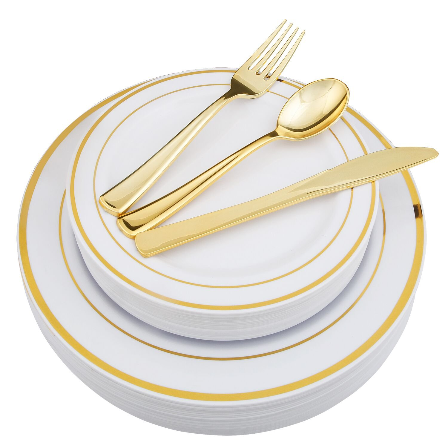 WDF-125 Piece Gold Plastic Silverware Set&Disposable Plastic Plates- Premium Heavyweight Plastic Place Setting include 25 Dinner Plates, 25 Salad Plates, 25 Forks, 25 Knives, 25 Spoons (Gold)