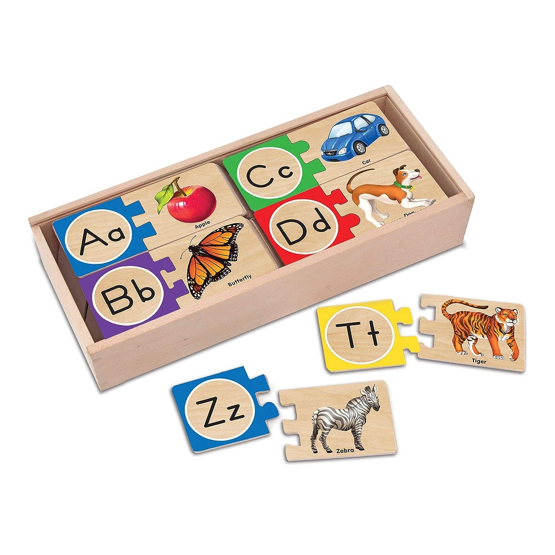 Melissa Doug Self Correcting Alphabet Wooden Puzzles With Storage Box 52 pcs