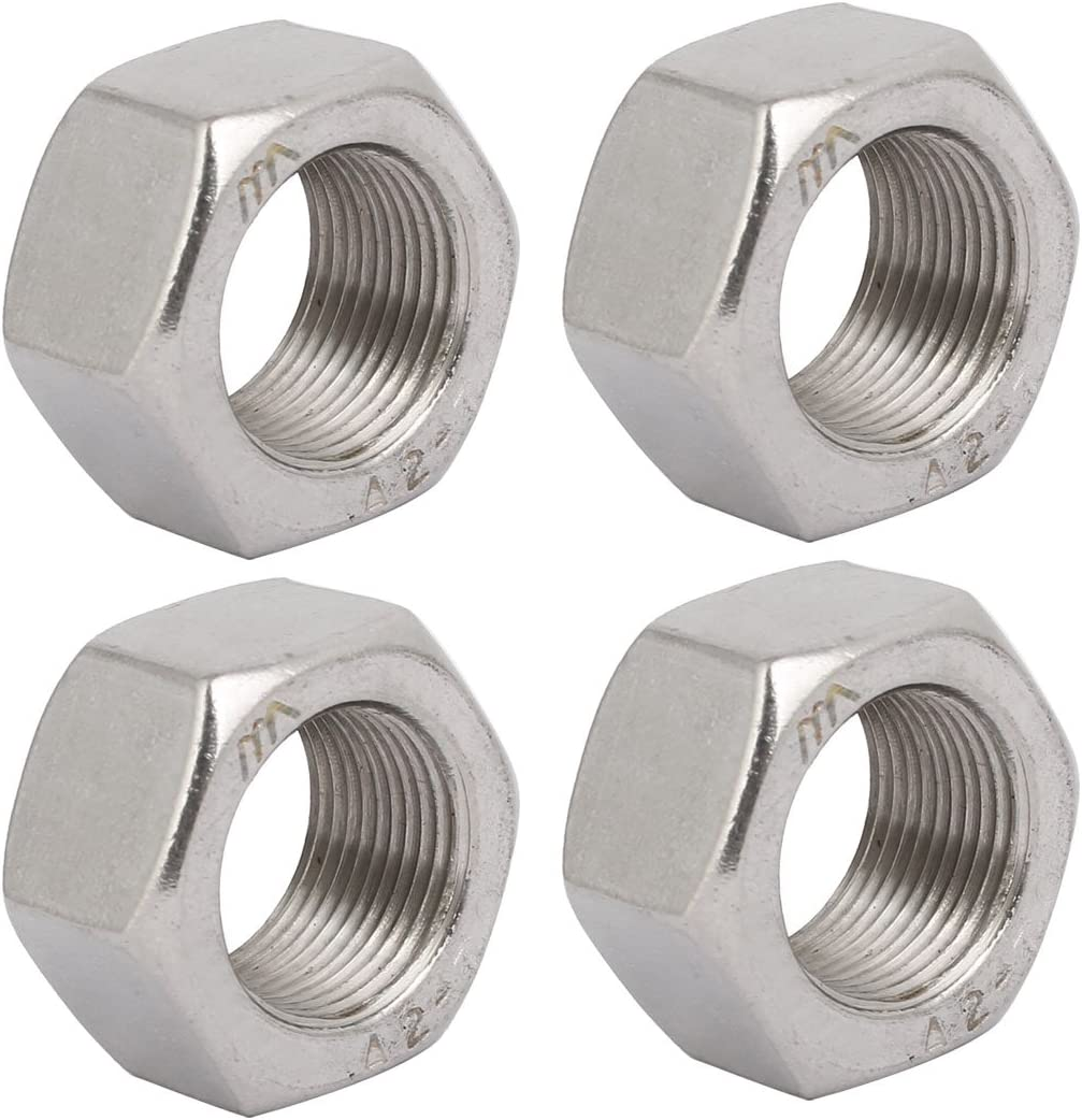 uxcell 4pcs M12 x 1.5mm Pitch Metric Fine Thread 304 Stainless Steel Hex Nuts