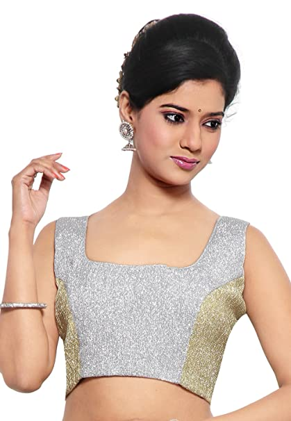 Utsav Fashion Brocade Blouse in Silver at Amazon Women s Clothing store