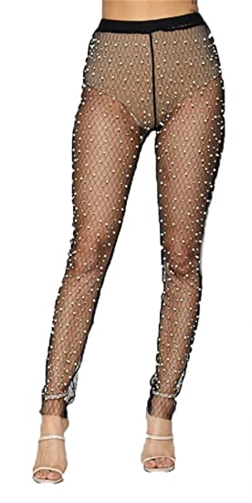 32871d63679 doublebabyjoy Women s Sexy Hollow Out See Through Fishnet Pantyhose Solid  Color Footless Leggings Pants Stretchy Tights