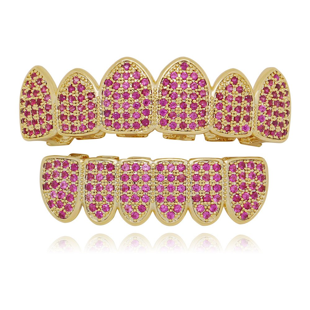 LuReen 14k Gold Plated Rose Iced Out Pave Full CZ Grillz Set + 2 Extra Molding Bars (Grillz Set)