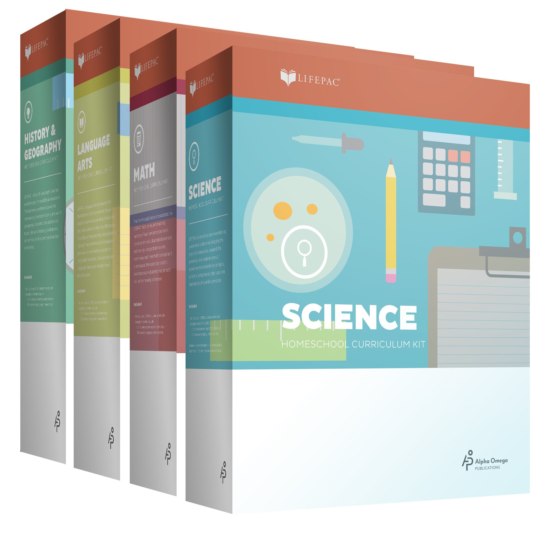 New Lifepac Grade 4 AOP 4-Subject Box Set (Math, Language, Science & History / Geography, Alpha Omega, 4TH GRADE, HomeSchooling CURRICULUM, New Life Pac [Paperback] by Alpha Omega Publications