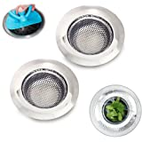 Toptheway Stainless Steel Kitchen Sink Strainer,Set of 2 with a Silicone Sink Stoppers -Large size 4.5-Inch Diameter Sink Strainer Drain Filter for Kitchen