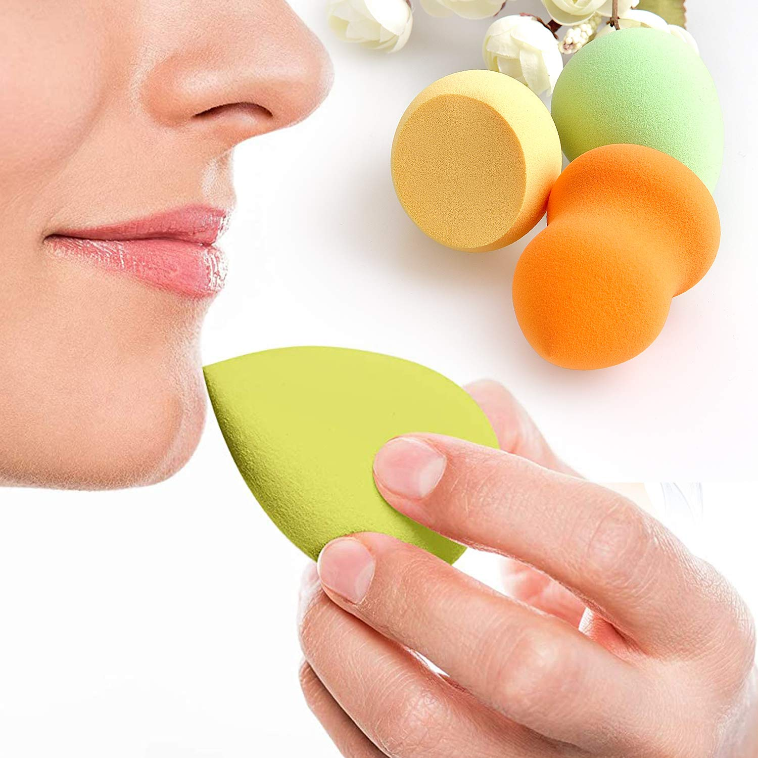 JIAMEI 3 PCS Makeup Sponge Blender Set, 3 Shapes Beauty Sponge Blender To Meet Any Of Your Makeup Needs Of Liquid Powder BB Cream Sunscreen Dry & Wet,Reusable