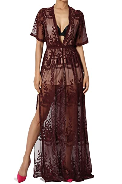 Themogan Embroidered Lace Deep V Neck Short Sleeve Romper Lined Maxi Dress Gown