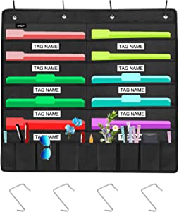 Sinzip Heavy Duty 10 Pocket Door Hanging File Organizer with Name Tag Holders, Black Wall Storage Pocket Charts with 4 Hangers, Great for Classroom, School, Home or Office Use (10 Nametag Pocket)