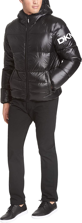 DKNY Mens Water Resistant Ultra Loft Hooded Logo Puffer Jacket