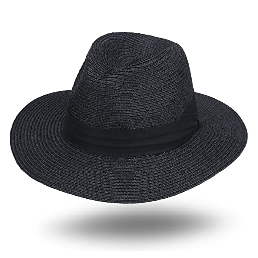 27c9cd50be6 JOOWEN Women and Men s Panama Fedora Straw Hat Beach Sun Cap (Black ...