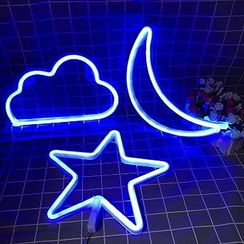 X-go Neon Light Cloud Neon Signs Cloud Neon Lights Blue Neon Light Signs for Bedroom Walls Neon Night Lights for Children LED Neon Signs Battery//USB Neon Light LED Cloud Neon Light up Signs for Party