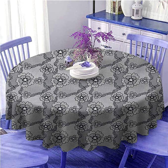 Uetech Microfiber Round Tablecloth Dark Grey Black Lace Style Pattern With Blossoms Victorian Gothic Flowers Bridal Print Black White Diameter 54 Amazon Ca Home Kitchen