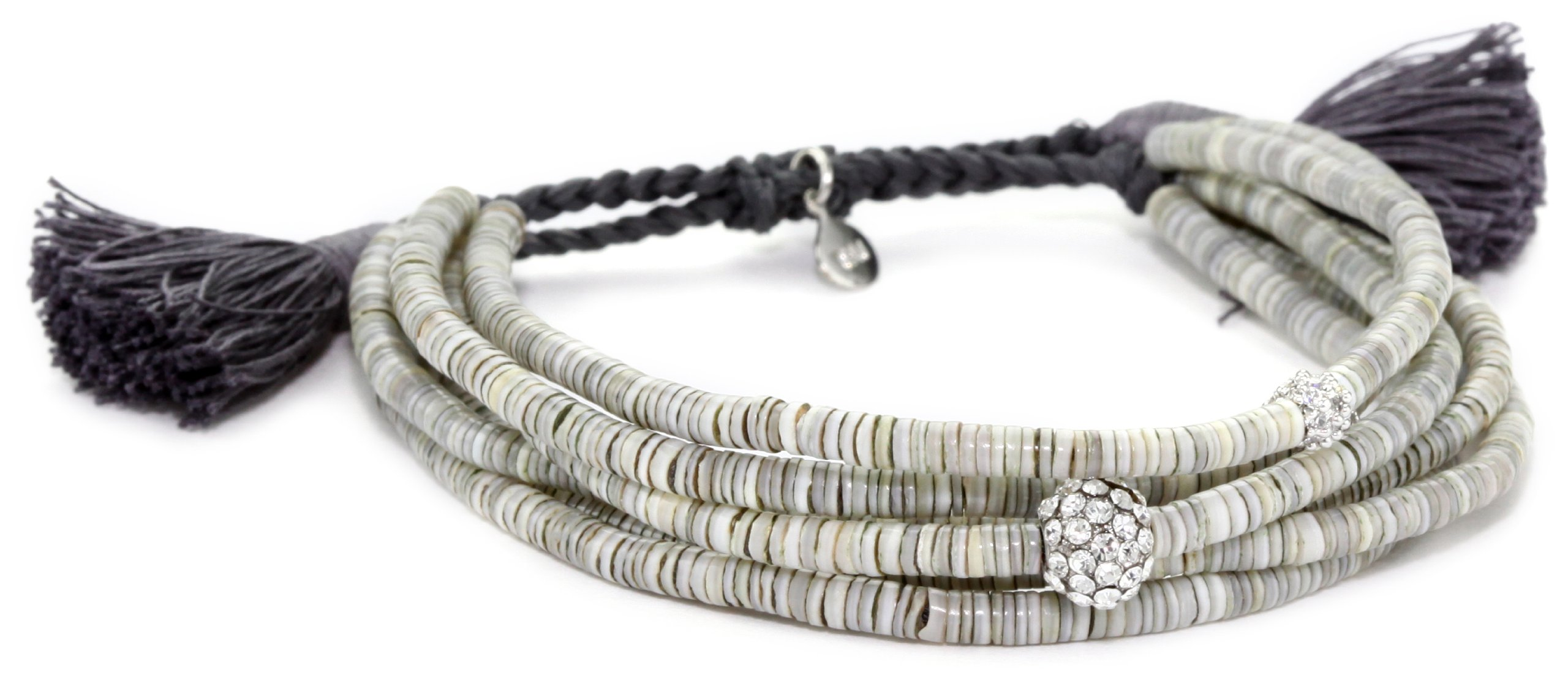 Tai Grey Shells and Crystal Beads Multi-Strand Bracelet