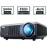 WIMIUS T7 Projecteur, Videoprojecteur HD LED 3000 Lumens Retroprojecteur Portable LCD Home Cinema Soutien Video 1080P HDMI USB VGA AV Noir