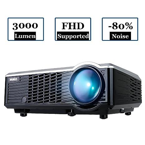 Proyector portátil HD Wimius T7 con LED de 3000 lúmenes y pantalla