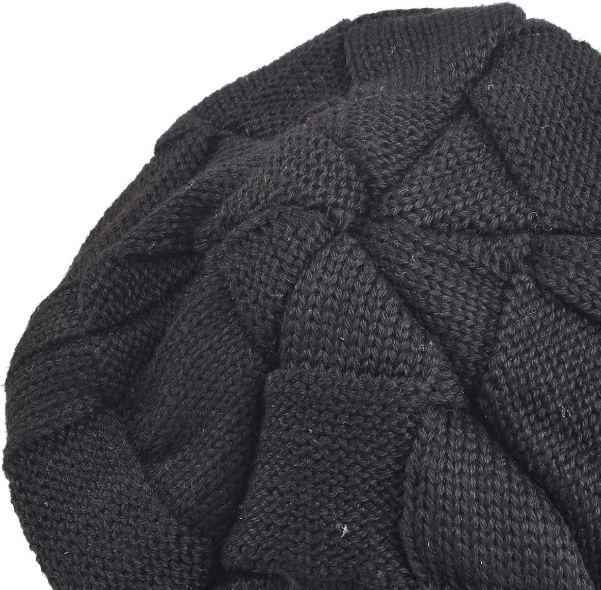 Ruphedy Men Knit Visor Beanie Hat Winter Thick Fleece Lined Newsboy Cap B319