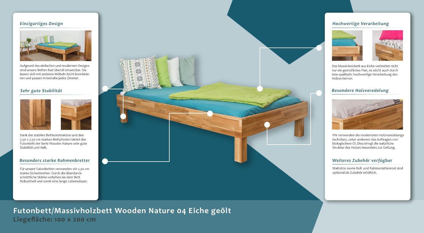 Eiche Bett 100 x 200 cm geölt: Amazon.de: Baumarkt