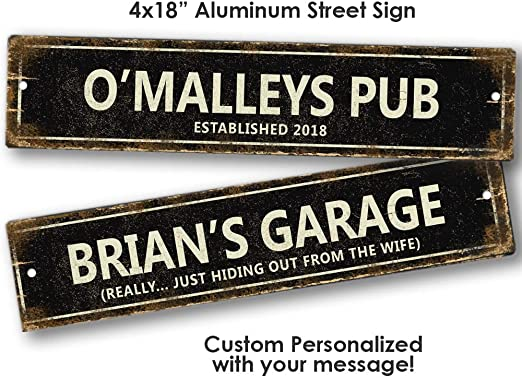 Custom Made Sign Personalised Black Text Metal Sign for Front Door Aluminum Sign Heavy Duty Metal Tin Sign Gift