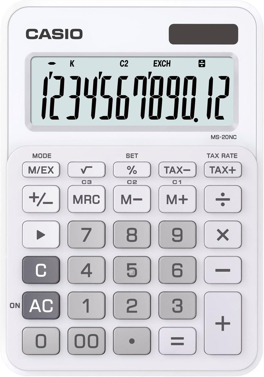Casio MS-20NC-WE Basic Calculator LARGE DISPLAY Tax Calculations