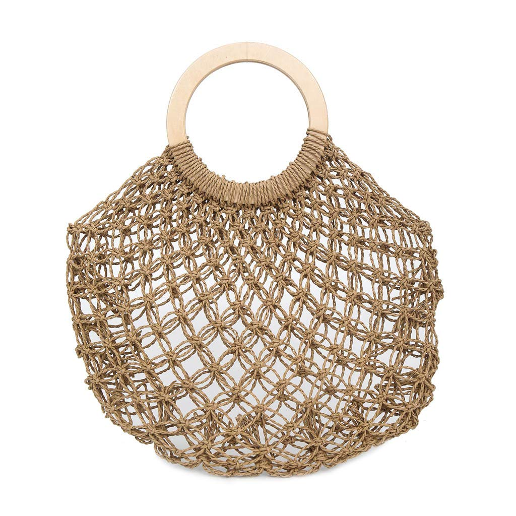 ce0656b8c6 Amazon.com: Women's Mesh Woven Drawstring Bag Straw Woven Round Wooden  Handle Handbag Simple Casual Summer Beach Ladies Woven Bucket Bag (Khaki):  Kitchen & ...