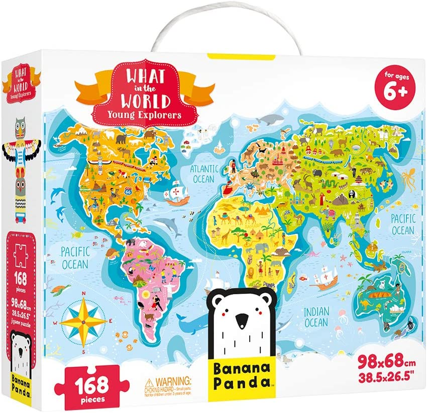 Banana Panda - What in the World Young Explorers - Jigsaw Puzzle and Learning Activity for Kids Ages 6 Years and Up,Multicolor