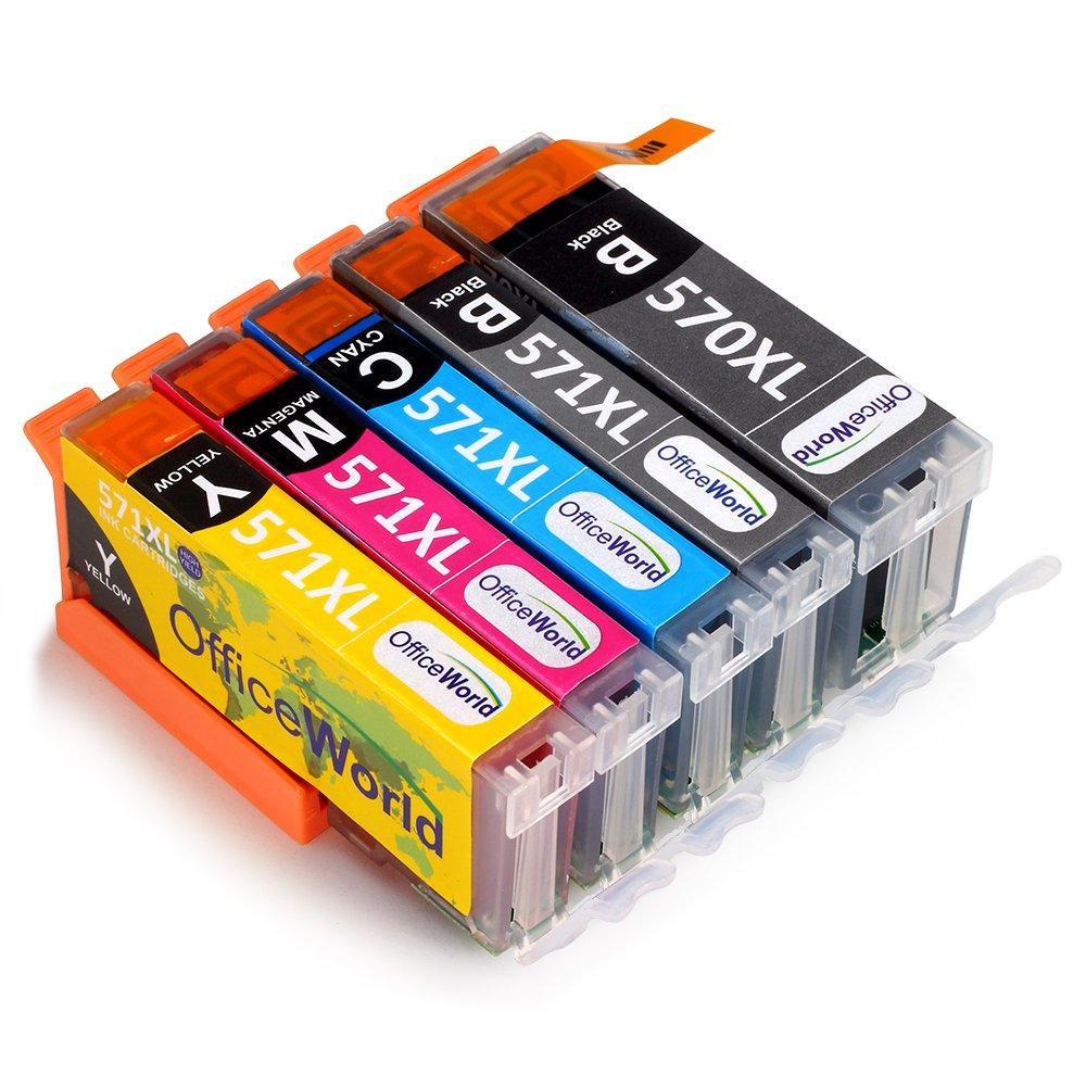 OfficeWorld PGI-570XL CLI-571XL Reemplazo para Canon PGI-570 CLI-571 Cartuchos de tinta con Canon PIXMA TS5050 TS5051 TS5055 MG5750 MG6850 MG5751 MG5700 ...