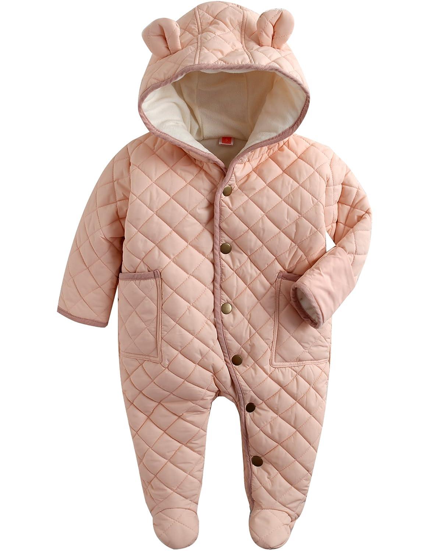 Vaenait baby 6-24M Infant Boys Winter Fleece Hoodie Snowsuit Romper Bear Set