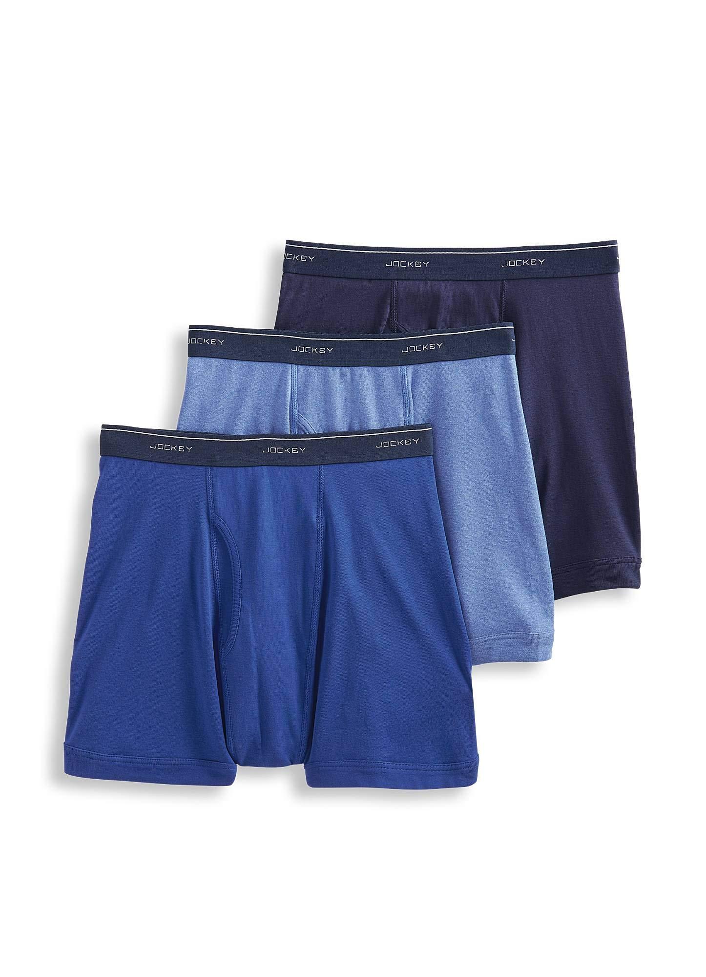 Jockey Men's Underwear Classic Boxer Brief - 3 Pack, Riverrock Blue/Space Blue/Cool Waters Heather, 2XL