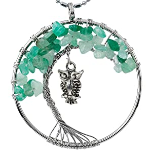 rockcloud Tree of Life Tumbled Stone Pendant Necklace Wire Wrapped Owl