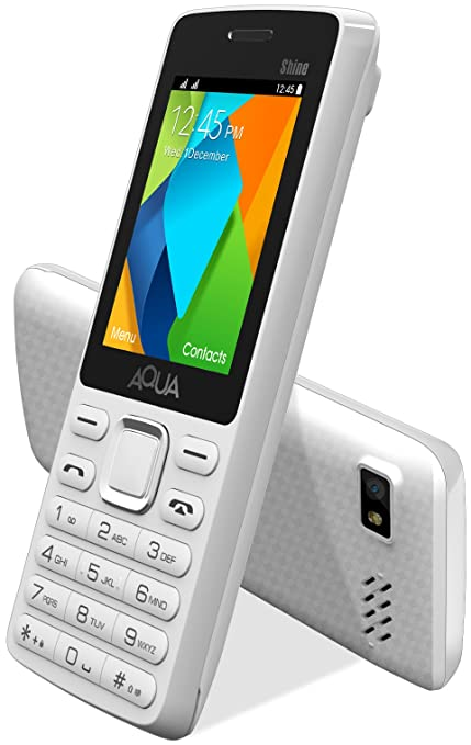 885162d4a5d Aqua Shine - 2100 mAh Battery - Dual SIM Basic Mobile Phone - White  Amazon. in  Electronics