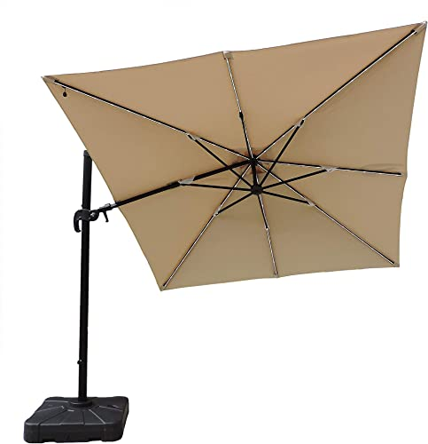 Blue Wave Santorini II Fiesta Square Cantilever Umbrella, 10-Feet, Beige Sunbrella Acrylic