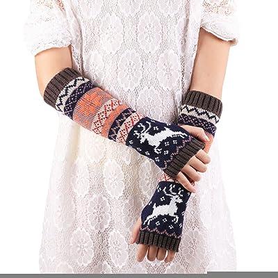 DoinshopレディースFasion指なしニット手袋腕ウォーマー冬手袋