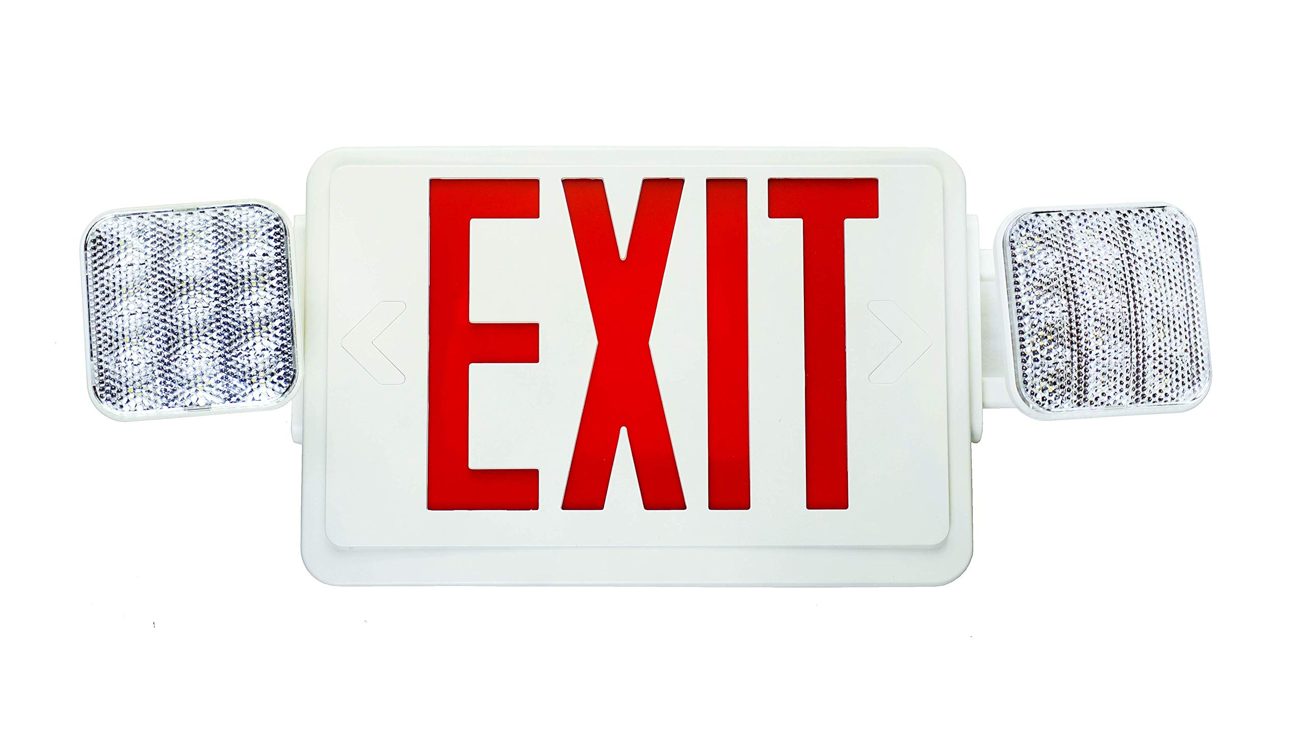 NICOR Lighting LED Emergency Exit Sign with Dual Adjustable LED Heads, White with Red Lettering  (ECL1-10-UNV-WH-R-2)
