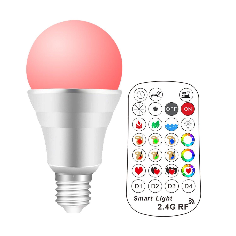 Lengjoy 2.4G RF LED 10W RGB Lampe, E27 Dimmbare Birne, Dimmbar Gl¨¹hbirne 16 Farben Leuchtmittel Dimmbar mit Fernbedienung ¡ NE-002