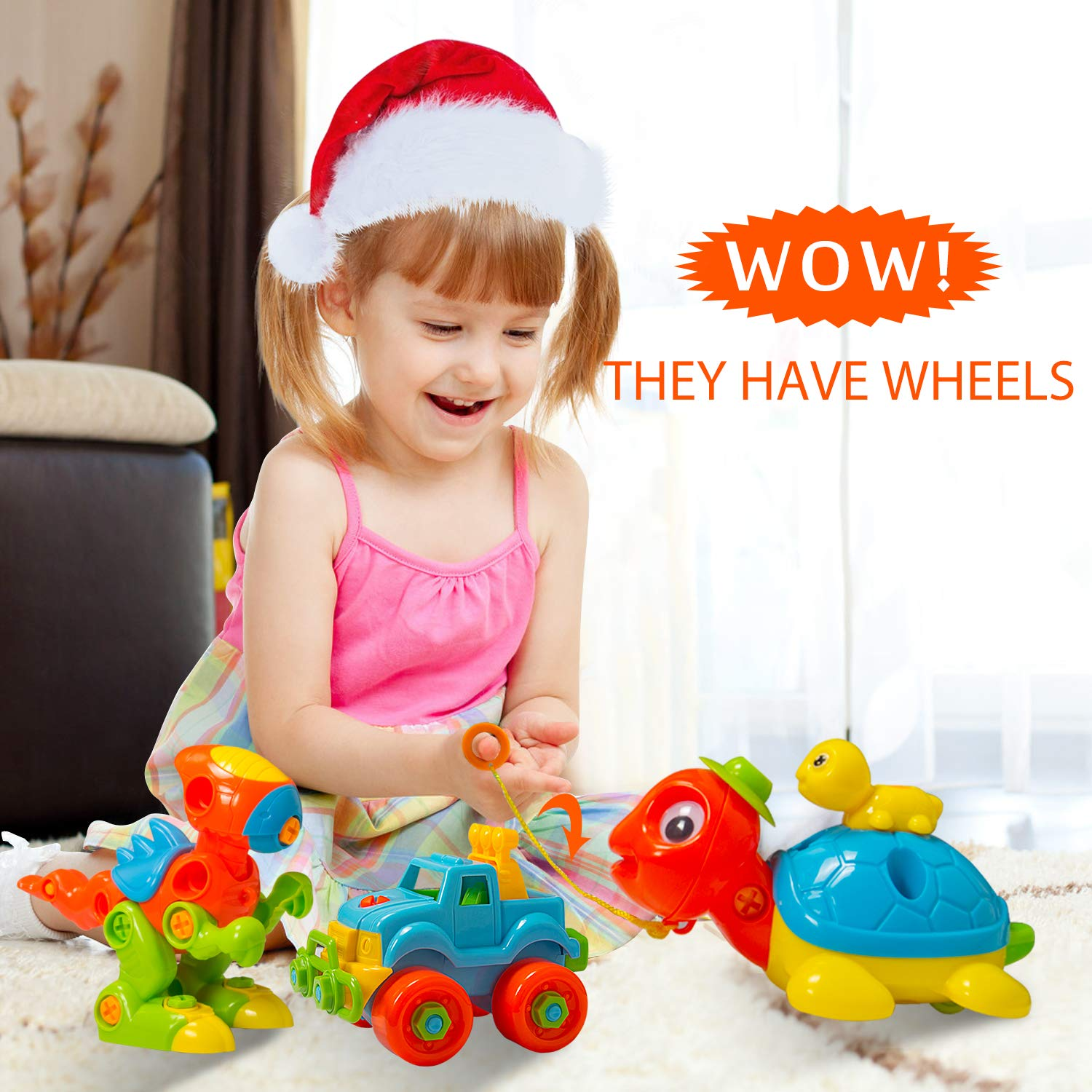 MARKKEER Dinosaur Toys Take Apart Toys with Tools Car,Turtle,Dinosaur Take Apart Toy Sets,STEM Learning Take Apart Fun Construction Engineering Building Toys for Boy Girl Toddler Best Toy Gift