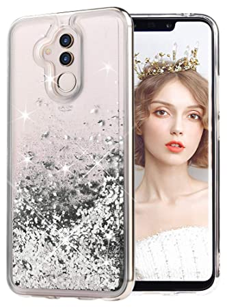 miglior sito web 0c80a c277b wlooo Phone Case for Huawei Mate 20 lite, Glitter Liquid Crystal Shiny  Moving Quicksand Slim Clear Transparent Flowing Floating Soft TPU Bumper ...